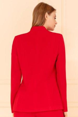 Żakiet czerwony na stójce tył