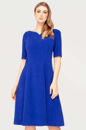 Elegancka sukienka Nina chabrowa. Wizytowa rozkloszowana sukienka z oryginalnym dekoltem