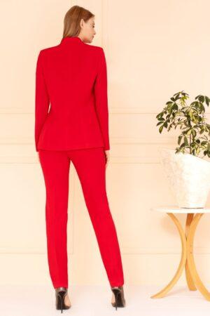 Kostium czerwony ze spodniami na wesele i komunie. Komplet damski dla kobiet lubiących mocne kolory