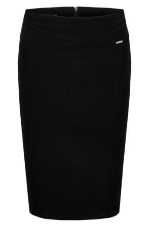Wizytowa spódnica Diana czarna- elegancka spódnica z przeszyciami