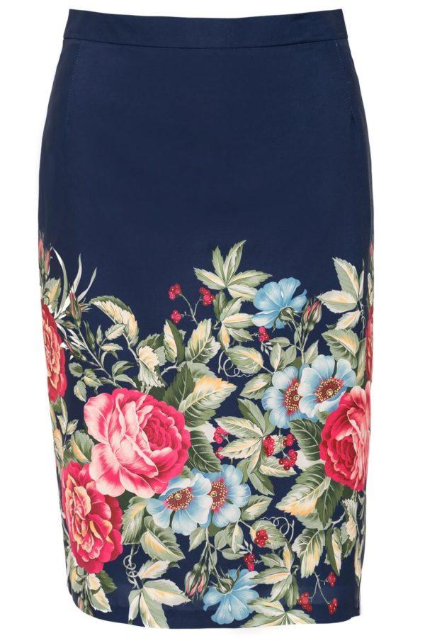 Spódnica granatowa w kwiaty