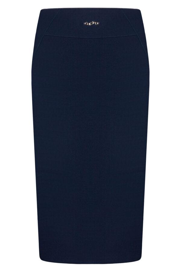 Spódnica Anastazja granatowa. Elegancka spódnica midi na karczku.