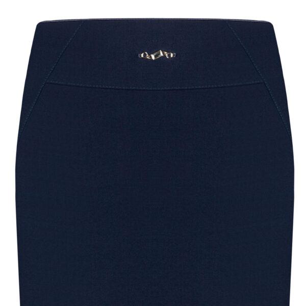 Spódnica Anastazja granatowa. Elegancka spódnica midi na karczku. Detal