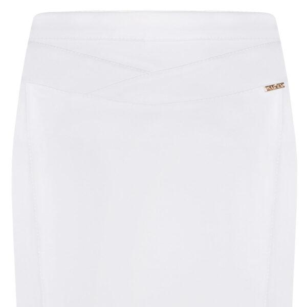 Spódnica Diana biała. Elegancka spódnica na ozdobnym karczku. Detal