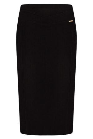 Spódnica Diana czarna. Elegancka spódnica na karczku. Ozdobne stebnowanie