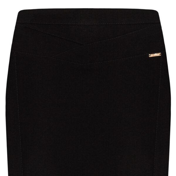 Spódnica Diana czarna. Elegancka spódnica na karczku. Ozdobne stebnowanie. Detal