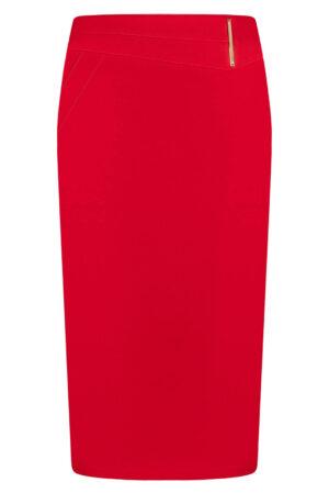 Spódnica Laura czerwona. Elegancka spódnica na karczku. Długość midi za kolana