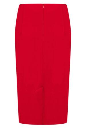 Spódnica Laura czerwona. Elegancka spódnica na karczku. Długość midi za kolana tył