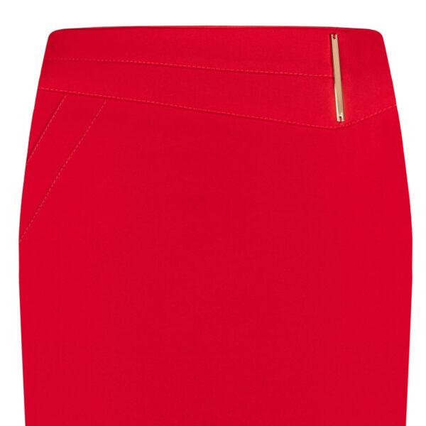 Spódnica Laura czerwona. Elegancka spódnica na karczku. Długość midi za kolana detal
