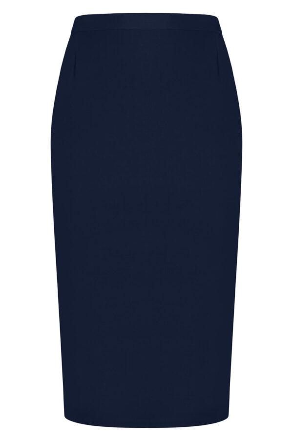 Spódnica granatowa. Elegancka spódnica midi za kolana. Do pracy, wizytowa