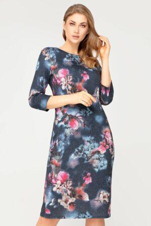 Sukienka Amelia granatowa w kwiaty amarantowe. Elegancka sukienka za kolana z dzianiny