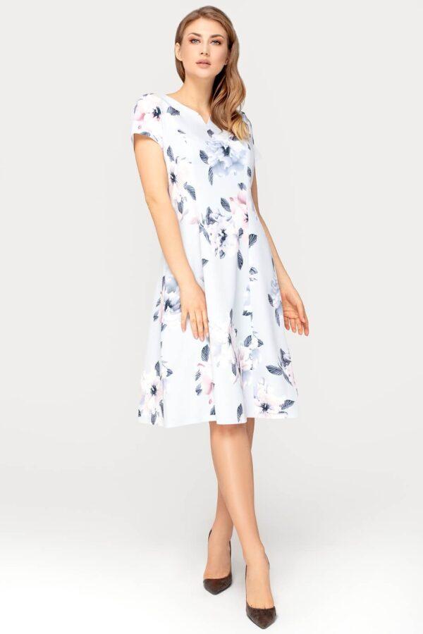 Sukienka Nina szara w kwiaty. Rozkloszowana sukienka na wesele