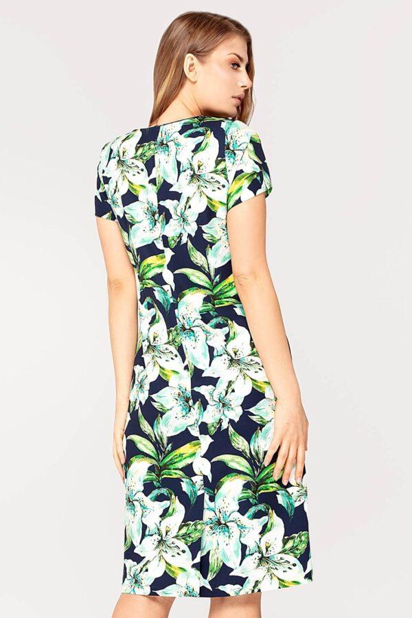 Sukienka Pauline granatowo-zielona w kwiaty