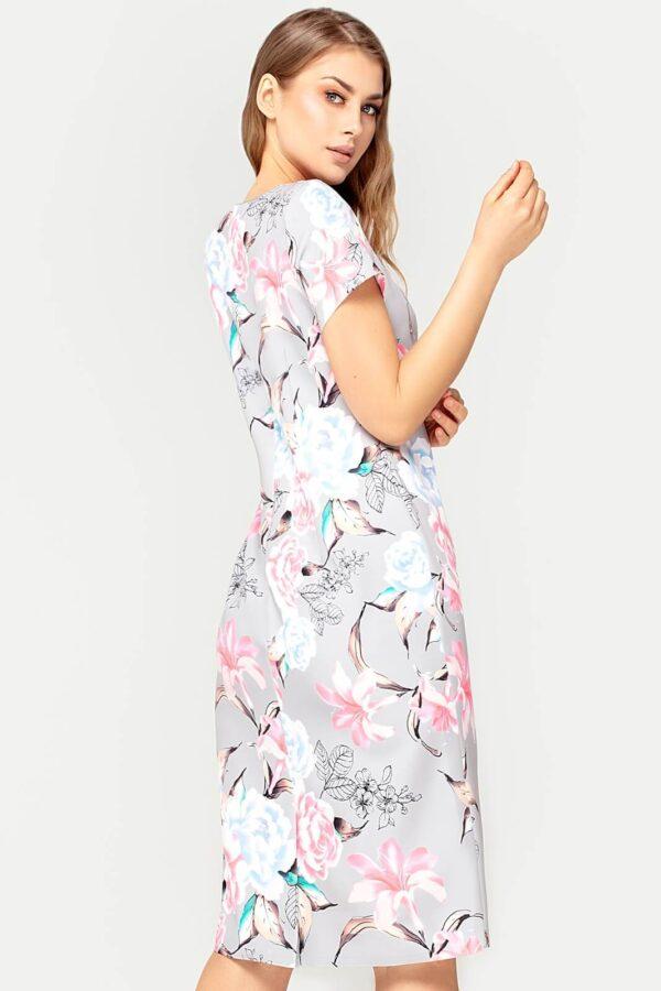Sukienka Pauline szara w kwiaty