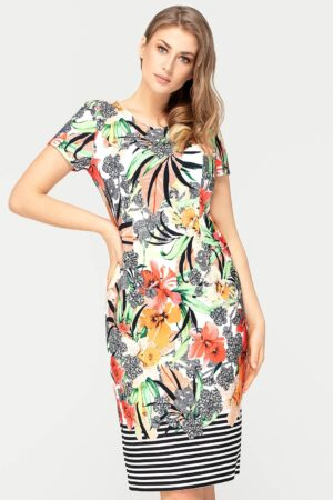 Sukienka Pola pomarańczowa w kwiaty