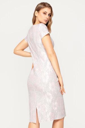 Sukienka Victoria pudrowo-szara. Elegancka sukienka na wesele dla matki panny młodej