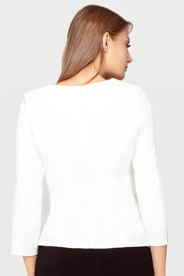 Wizytowa bluzka Briggite ecru. Symetryczna baskinka z ozdobnym haftem