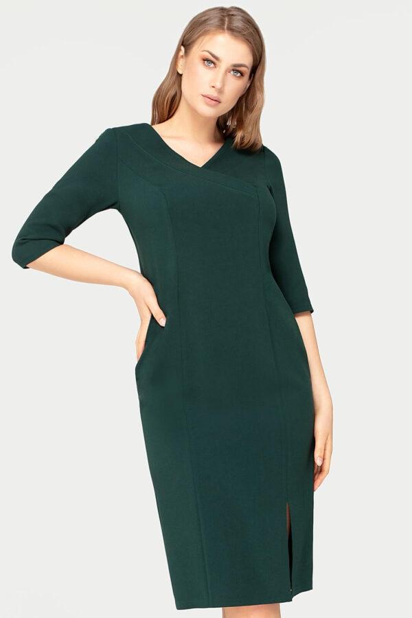Wizytowa sukienka Agnes zielona z rozcięciem na nodze. Elegancka sukienka kopertowa