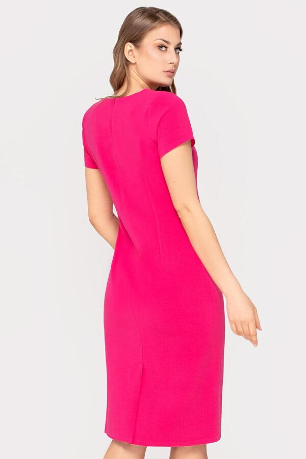Wizytowa sukienka Lea amarantowa. Sukienka kopertowa z oryginalnym dekoltem
