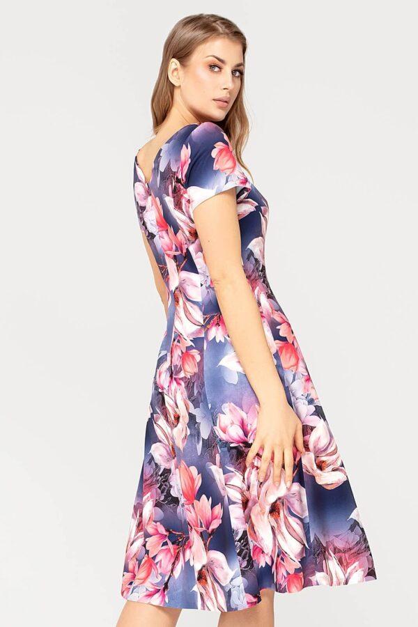 Wizytowa sukienka Nina granatowa w kwiaty. Elegancka rozkloszowana sukienka na wesele