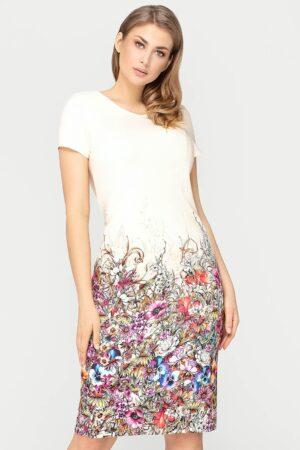 Wizytowa sukienka Pola beżowa w kwiaty. Piękna sukienka na wesele