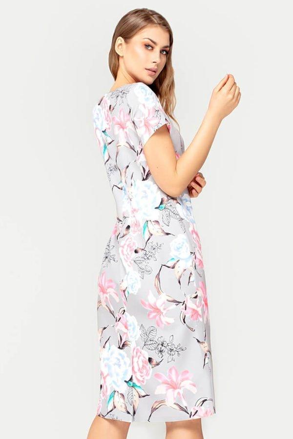 Sukienka Pauline szara w kwiaty tył