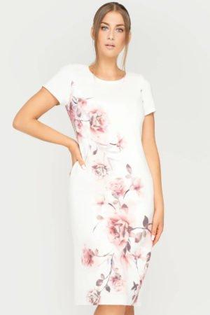 Sukienka Pauline ecru boczny kwiat beżowy