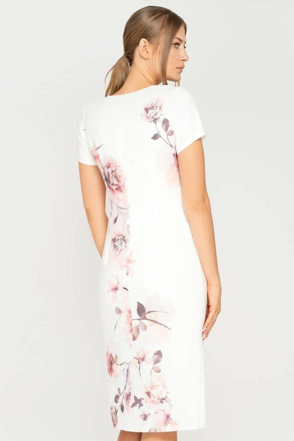 Sukienka Pauline ecru boczny kwiat beżowy tył