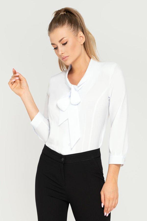 Bluzka Fiona biała. Wizytowa bluzka damska z wiązaniem