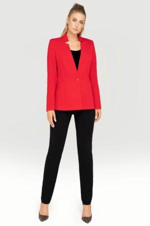 Kostium czerwony z czarnymi spodniami