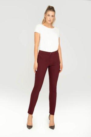 Spodnie bordowe- wizytowe spodnie damskie