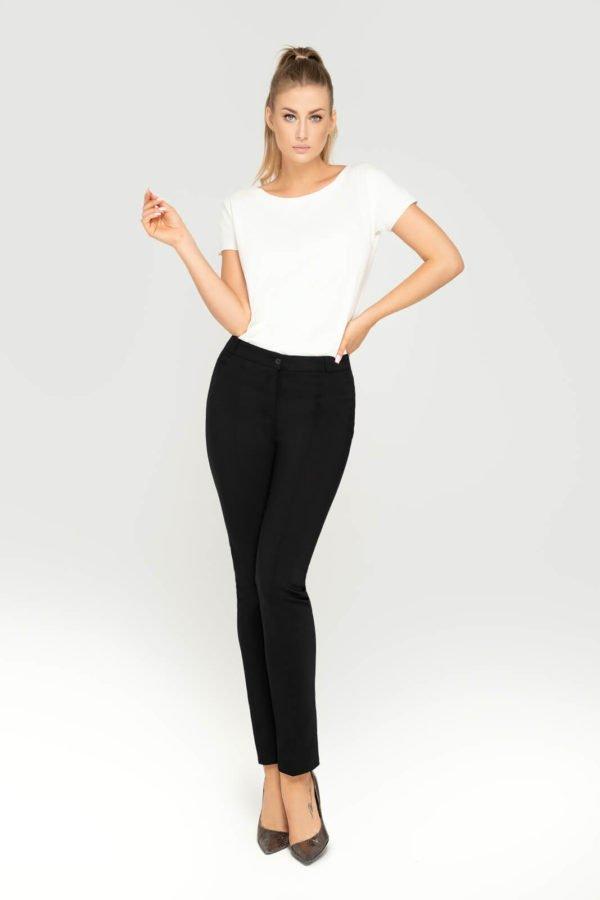 Wizytowe spodnie czarne damskie- widok z przodu