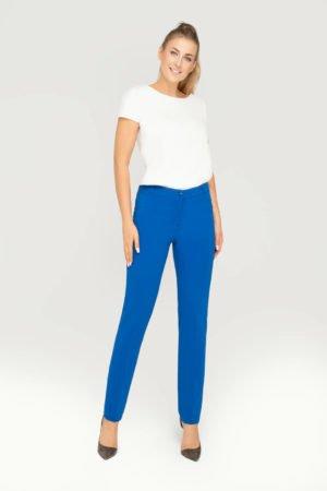 Spodnie klasyczne zwężane chabrowe- eleganckie spodnie na kant