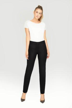 Klasyczne spodnie damskie na kant. Eleganckie spodnie na pasku