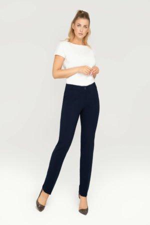Wizytowe spodnie klasyczne zwężane granatowe- eleganckie spodnie na kant