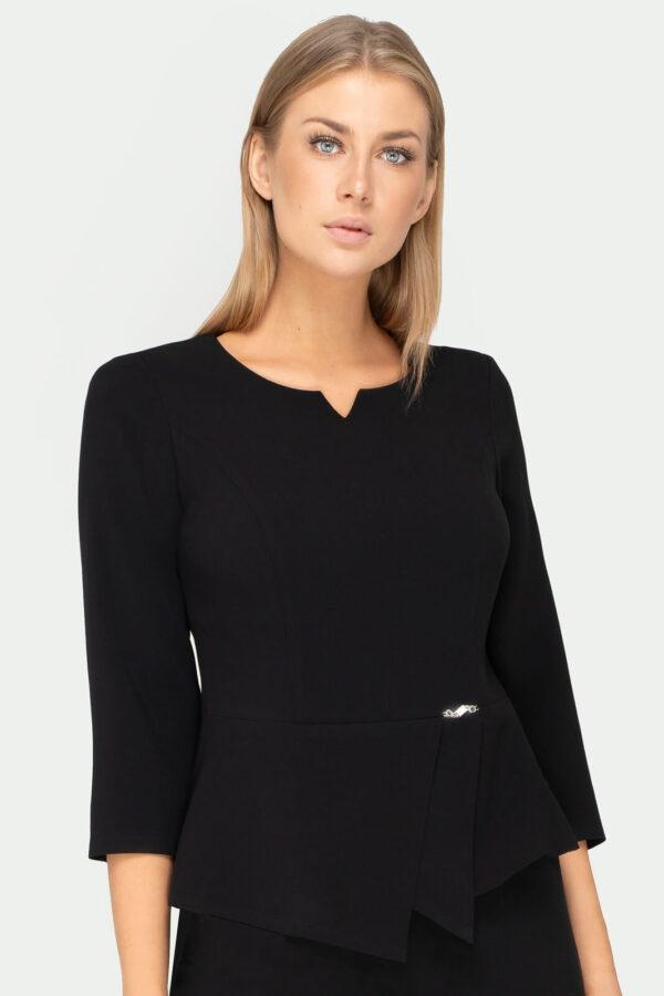 Bluzka czarna z baskinką. Elegancka bluzka damska