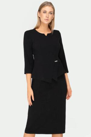 Czarny komplet damski. Wizytowa bluzka z baskinka i spódnicą za kolano