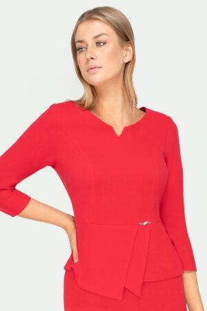 Czerwona bluzka damska z baskinką