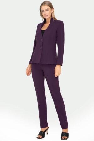 Elegancki kostium Sylvia fioletowy ze spodniami