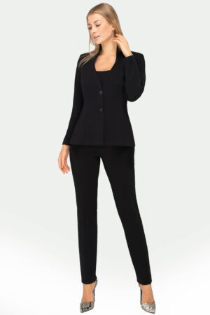 Kostium Sylvia czarny ze spodniami. Wizytowa marynarka damska