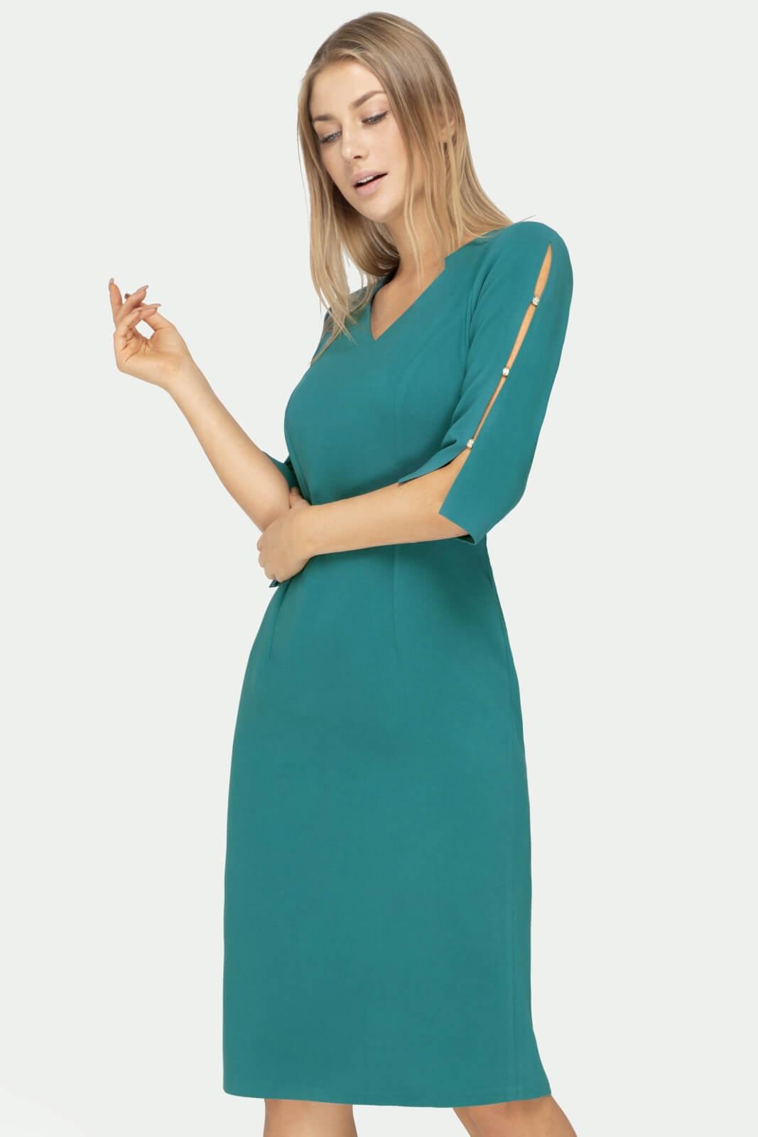 Sukienka Gabrielle turkusowa z rozcięciem na rękawie- widok z przodu