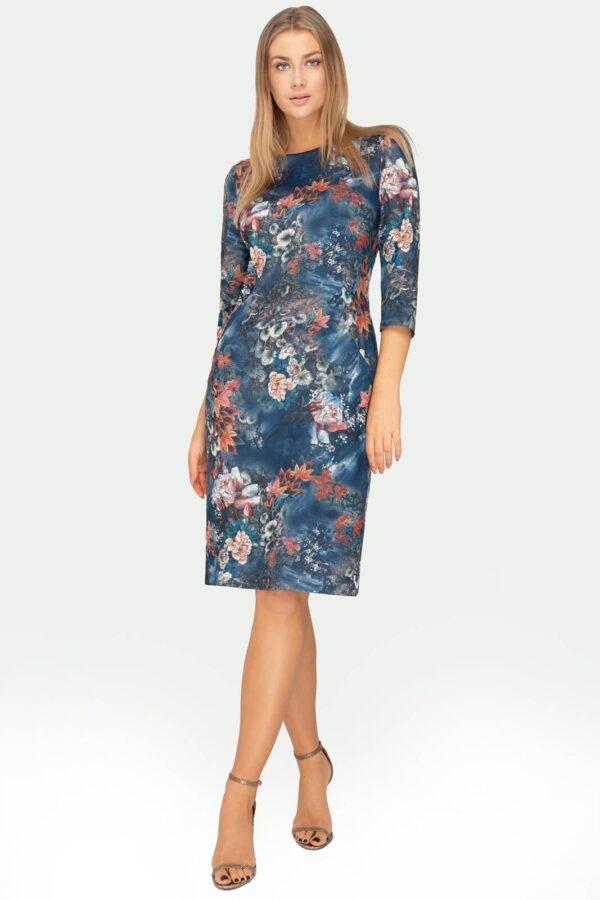 Sukienka Amelia granatowa w kwiaty rude