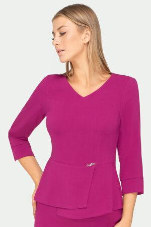 Wizytowa bluzka damska z baskinką w kolorze biskupim