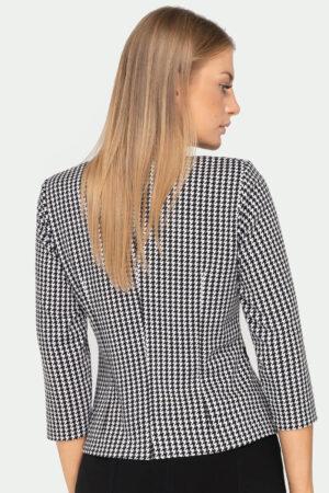 Wizytowa bluzka damska z baskinką. Bluzka w pepitkę