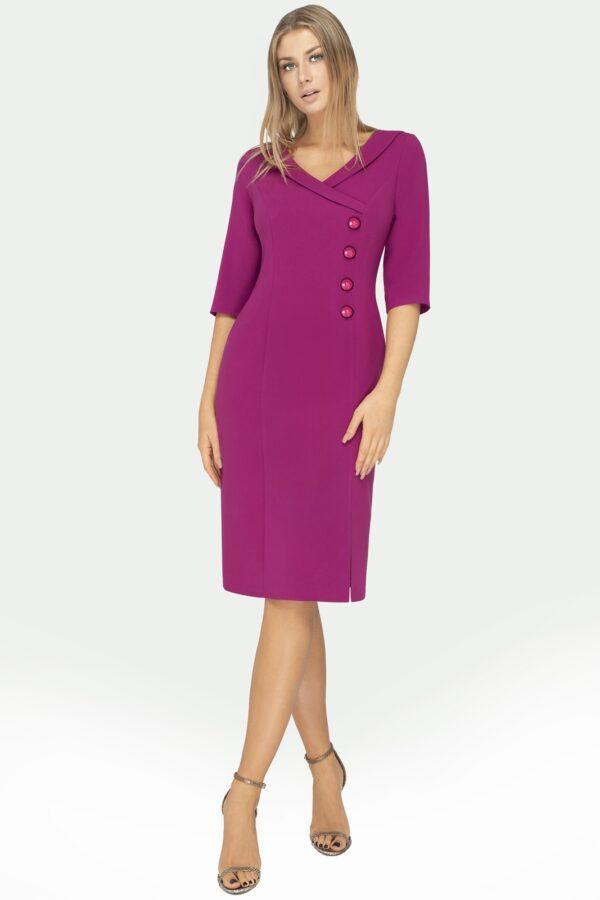 Wizytowa sukienka kopertowa w kolorze biskupim za kolana całość