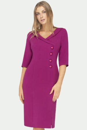 Wizytowa sukienka kopertowa w kolorze biskupim za kolana