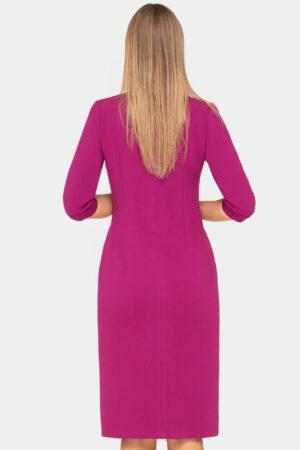 Wizytowa sukienka kopertowa w kolorze biskupim za kolana tył