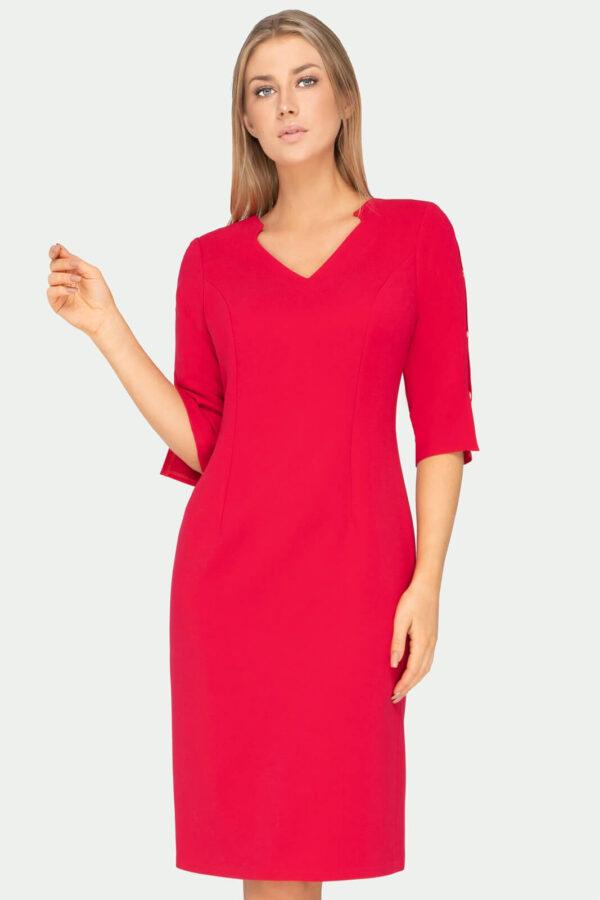 Sukienka Gabrielle malinowa z rozciętymi rękawami