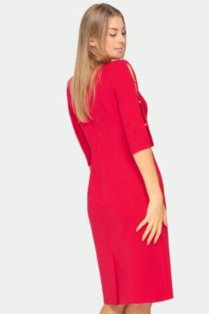 Wizytowa sukienka malinowa z rozciętymi rękawami