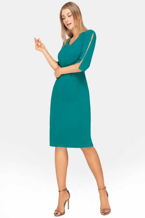 Wizytowa sukienka turkusowa z rozciętymi rękawami